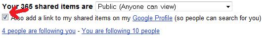 Also add a link to my shared items on my Google Profile (so people can search for you)