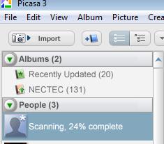 Picasa 3.5 เมื่อติดตั้งเสร็จจะเริ่ม scan รูปใบหน้าในภาพในเครื่อง