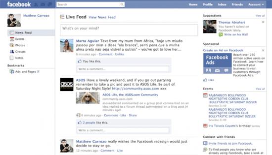 หน้า home แบบใหม่ของ facebook