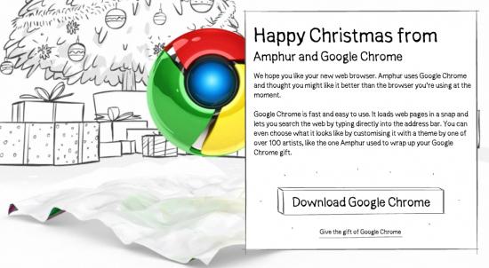 ของขวัญที่อยู่ข้างในคือ Google Chrome จ้า