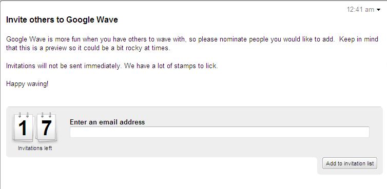 invite ของ Google wave มีอยู่ 17 อัน