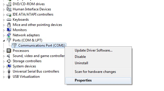 how to change com port number windows 7
