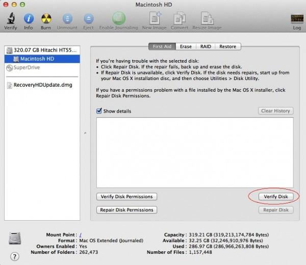 Verify Disk 600x520 เปิดการทำงาน Find My Mac และทดลองใช้งาน