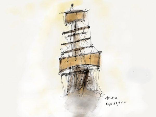 เรือใบในม่านหมอก