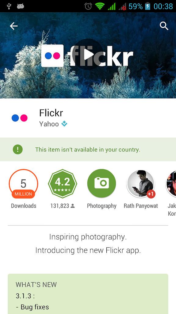 Flickr ใน Google Play ติดตั้งไม่ได้