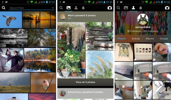 Flickr for Android เมนูต่างๆ