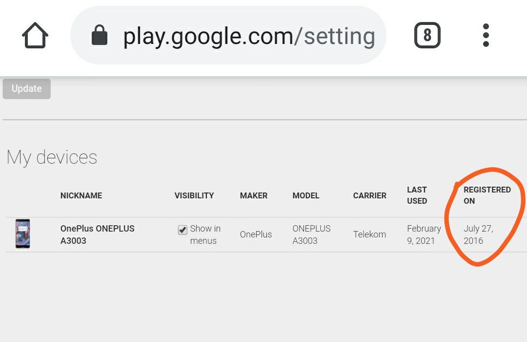 แสดงรายละเอียดอุปกรณ์ที่ใช้ Google play